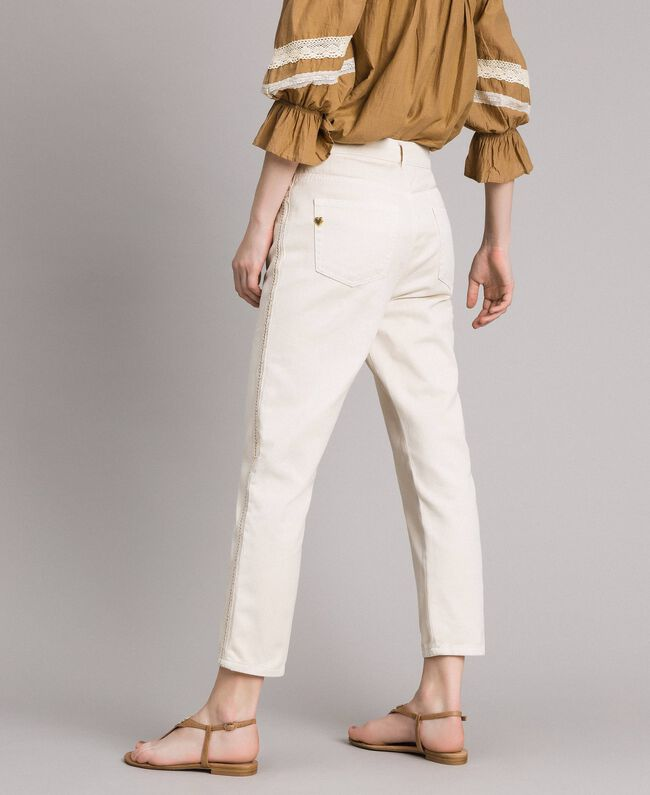 """Girlfriend trousers with embroideries """"Shell"""" Beige Woman 191MT2192-04"""
