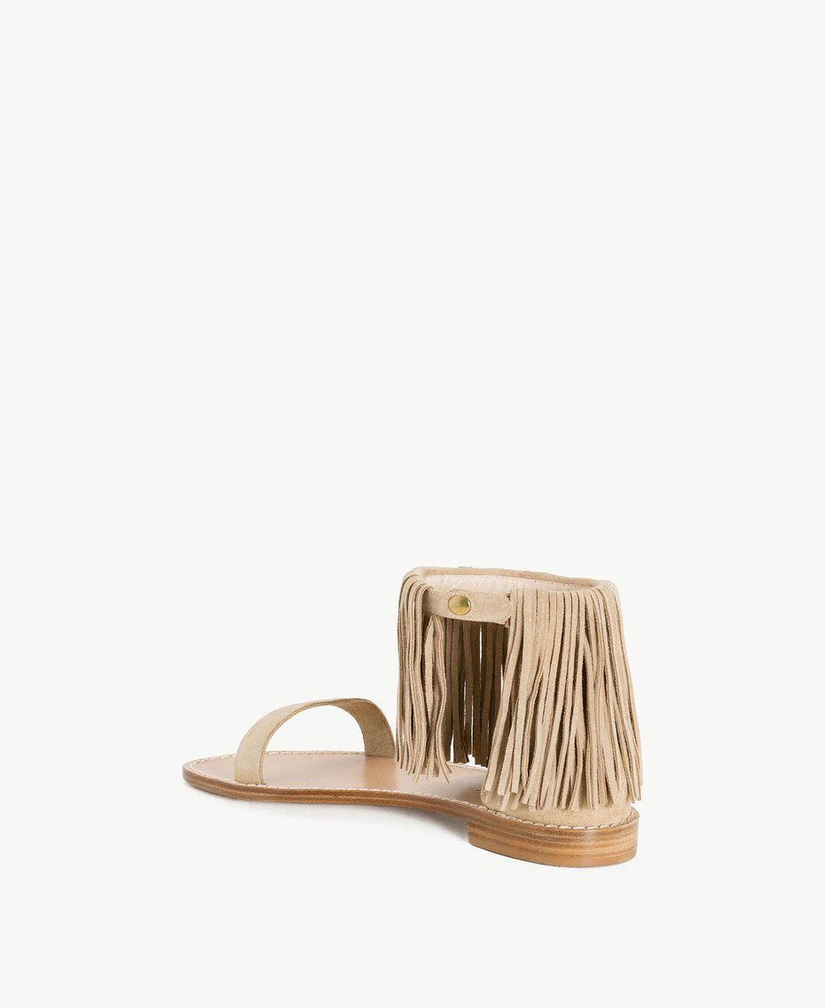 "TWINSET Fringe sandals ""Dune"" Beige Woman CS8TAN-03"