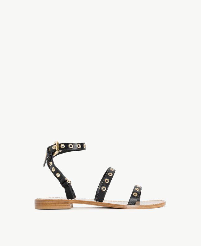 TWINSET Sandale aus Leder Schwarz Frau CS8TAG-01