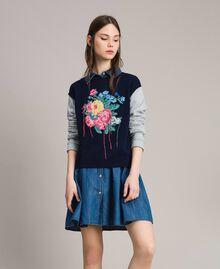 Pullover mit handgefertigter Blumenintarsie Zweifarbig Melange Hellgrau / Indigo Frau 191MP3122-02