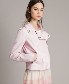 "Blouson motard en similicuir avec insertion en molleton ""Rose Surréel"" Femme 191MP2050-05"
