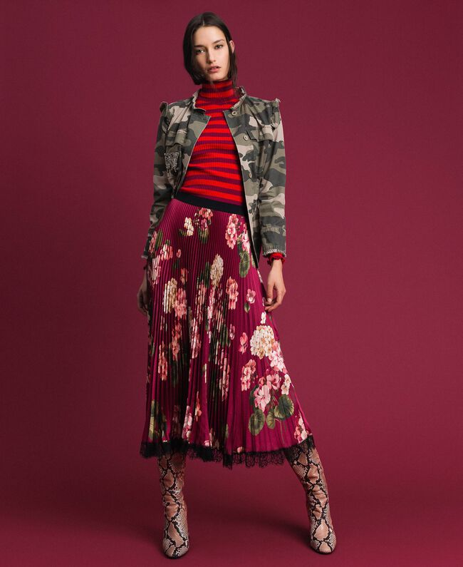 Long pleated skirt in floral twill Beet Red Geranium Print Woman 192TP2609-01