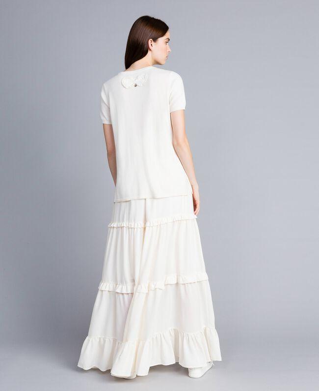 Crêpe de Chine long skirt Mother Of Pearl Woman SA82H7-03