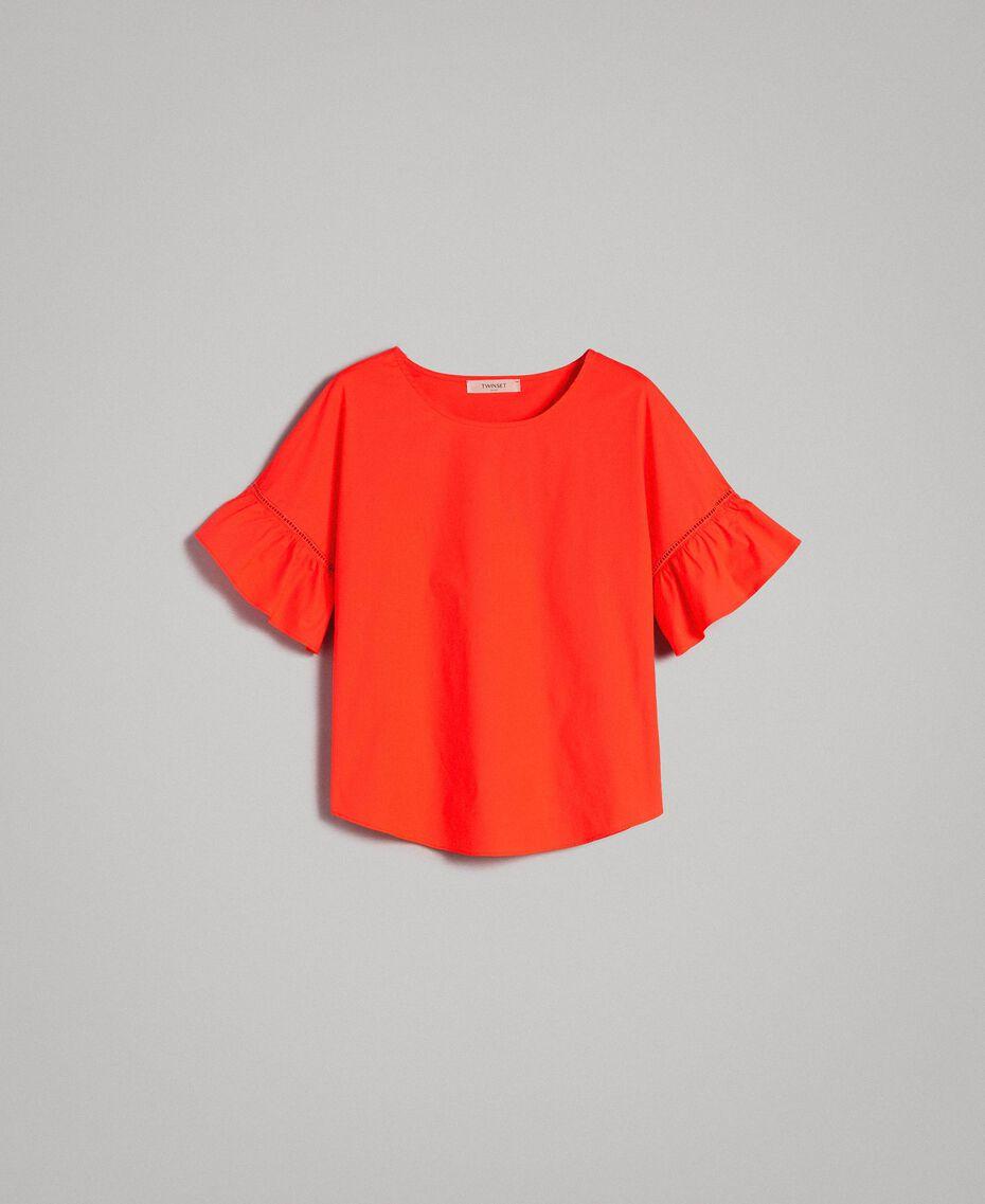 Poplin flounce blouse White Woman 191TT224D-0S