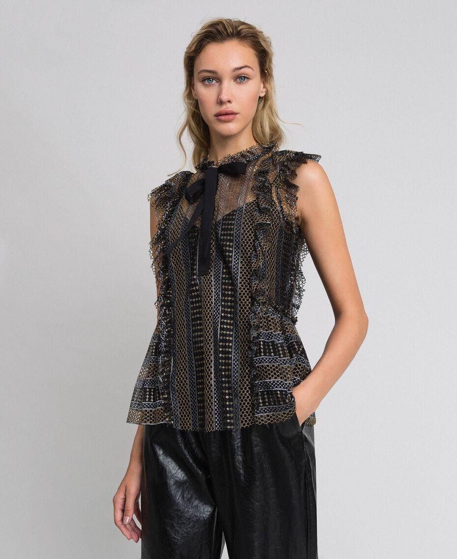 Top en dentelle lurex Noir Femme 192TT2364-01