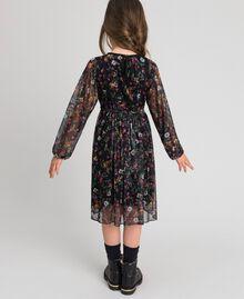 Tüllkleid aus Georgette mit Blumenprint Print Erdbeeren und Himbeeren Kind 192GJ2505-03