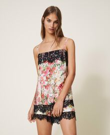 Printed satin top with lace Large Flower Print Woman 202LL2EKK-05
