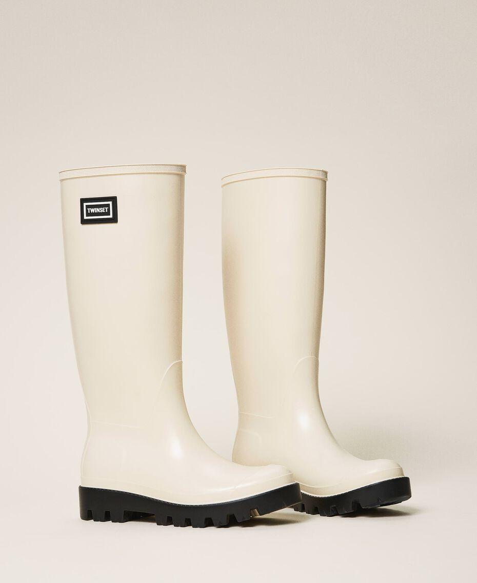 Stivali da pioggia con logo Bianco Panna Donna 202TCP210-01