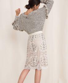 Кружевная юбка с вышивками Слоновая кость женщина 201TP2464-03