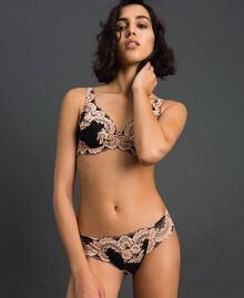 "Underwire two-tone lace bra Black / ""Peach"" Pink Woman 192LL6DWW-03"
