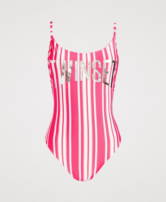 Striped one-piece swimsuit with a logo