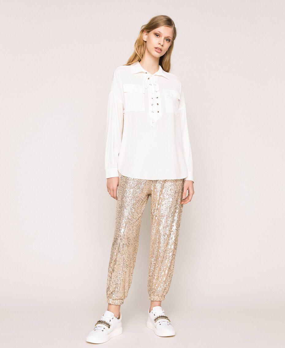 Рубашка из смесового шелка на декоративной шнуровке Белый Снег женщина 201TP2508-02