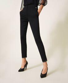 Pantalon cigarette avec broderies Noir Femme 202TP225B-02
