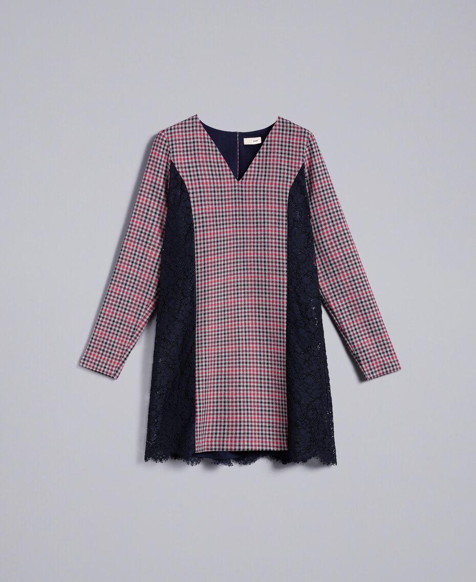 Check flannel and macramé lace dress Grey / Red Check Jacquard Woman SA82FF-0S