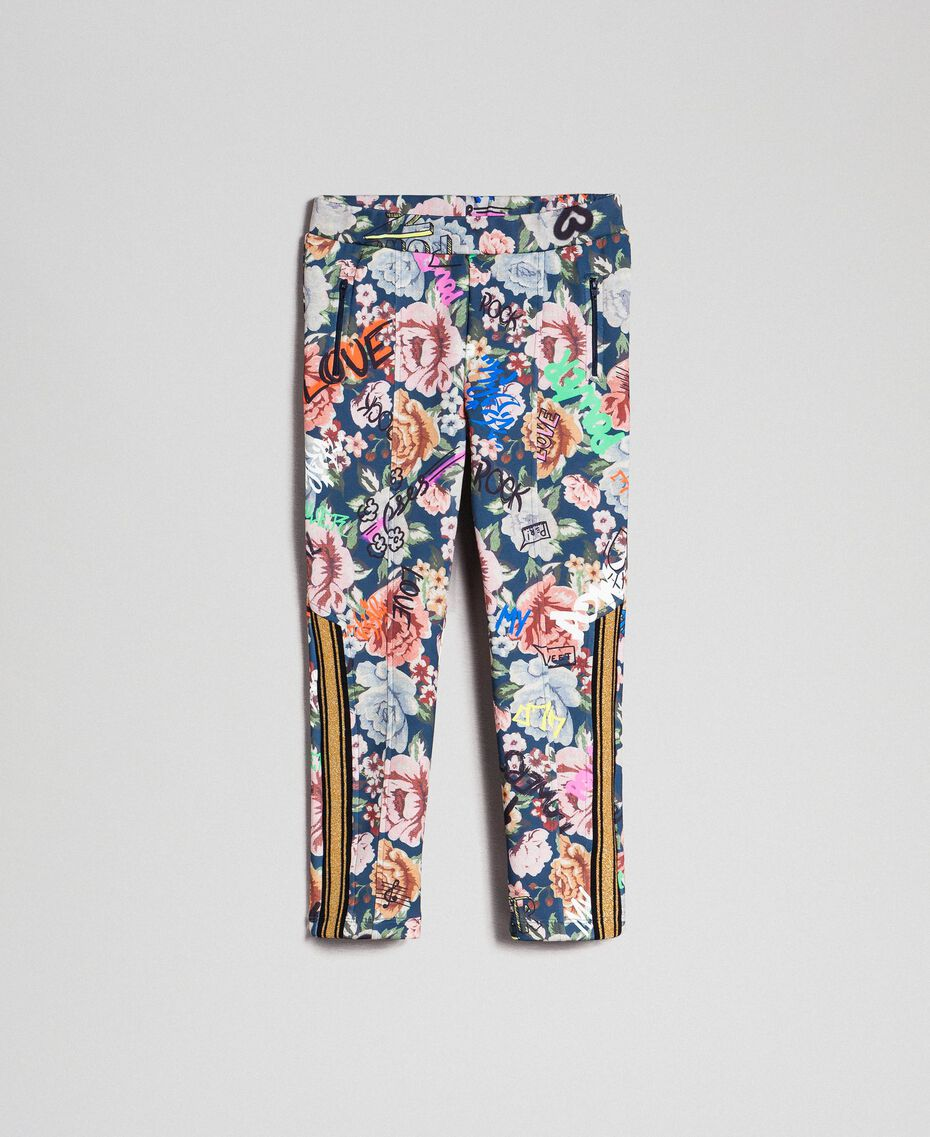 Scuba trousers with floral and graffiti print Graffiti Print Child 192GJ2494-0S