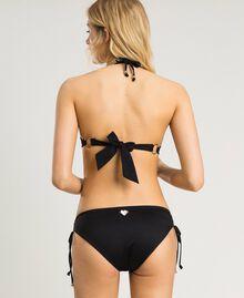 Bikini bottom with side drawstring. Black Woman 191LBM299-03