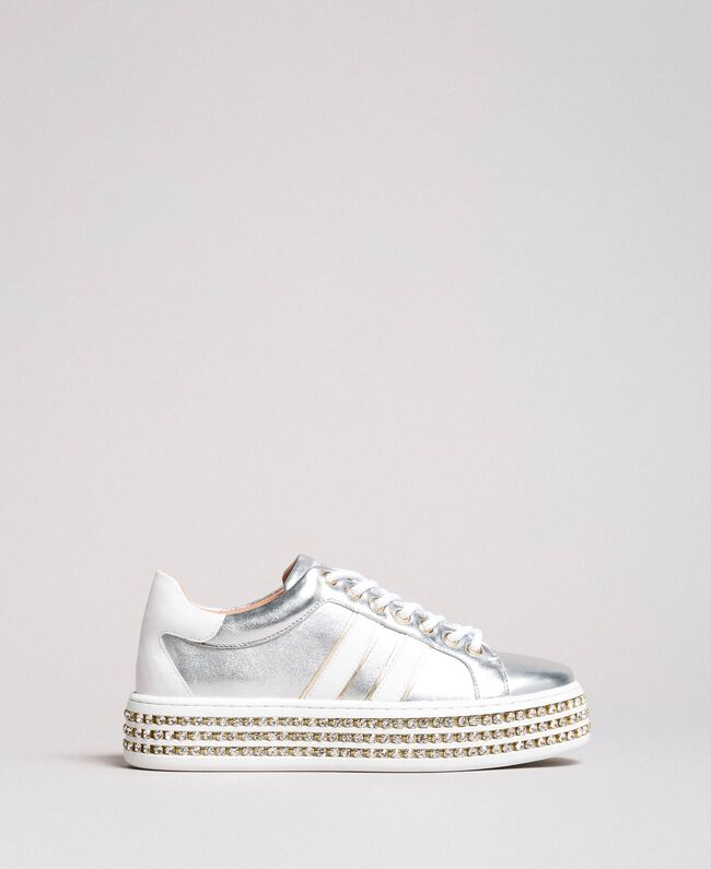 Leather sneakers with rhinestones Silver Woman 191TCP170-03
