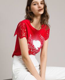 Printed T-shirt with lace Poppy Red Woman 191ST208A-01