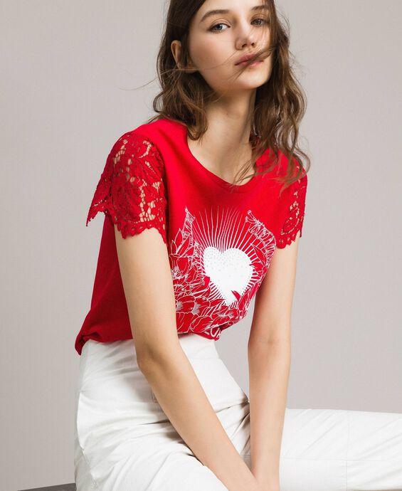 T-shirt avec imprimé et dentelle