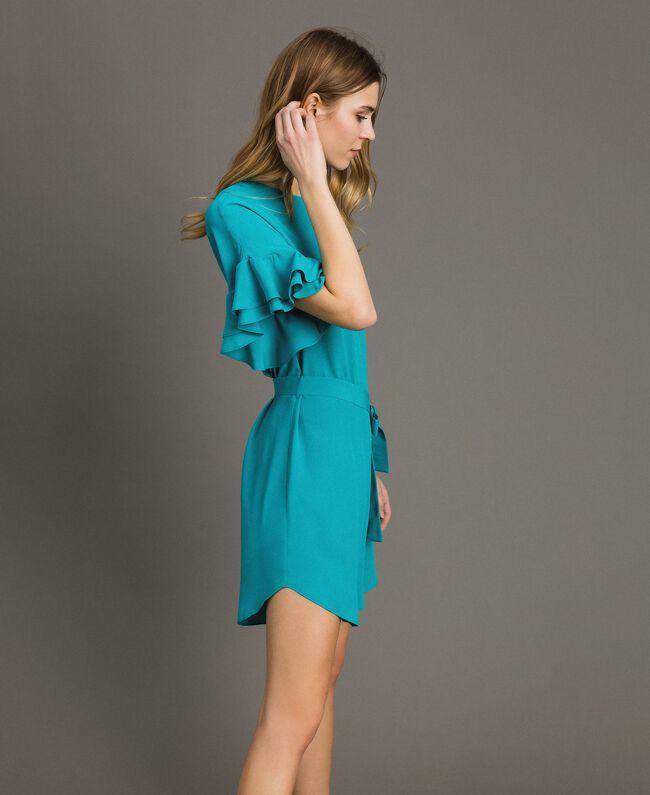 Kleid mit Volants aus Seidenmischung Keramikblau Frau 191TT2074-03