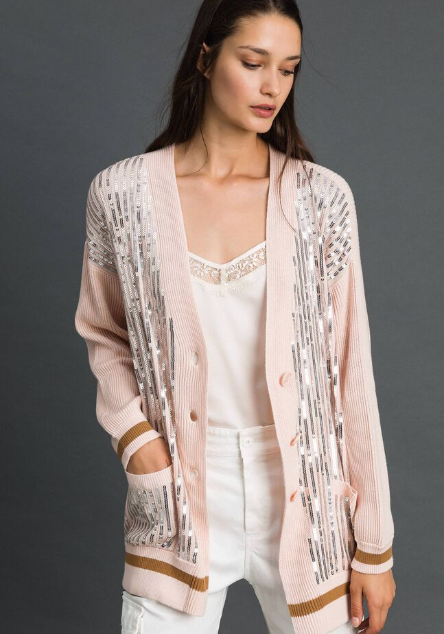 Contrasting trim and sequin maxi cardigan