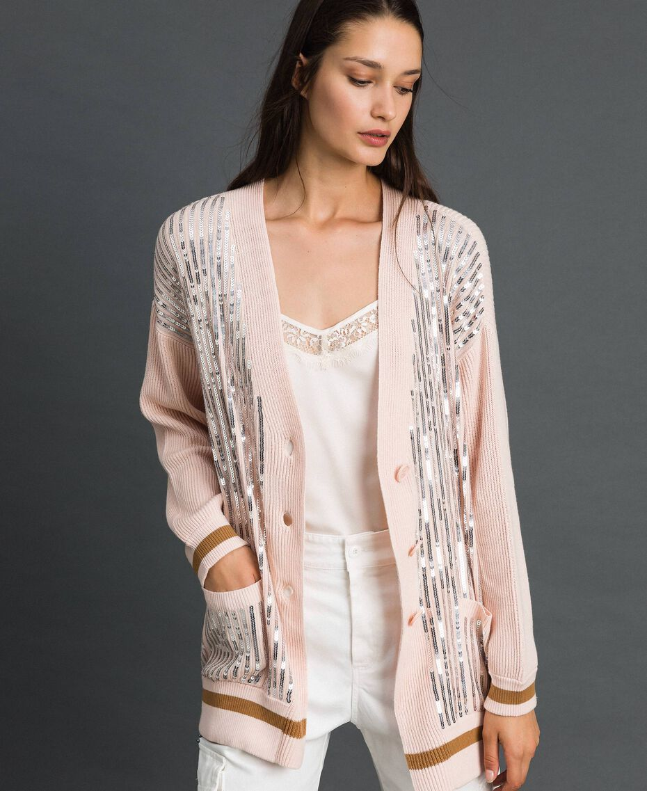 Contrasting trim and sequin maxi cardigan Blossom Pink / Irish Cream Woman 192MP3121-01