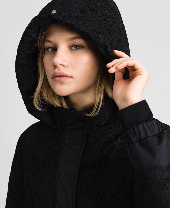 Macramè lace puffer jacket Black Woman 192TP2130-04