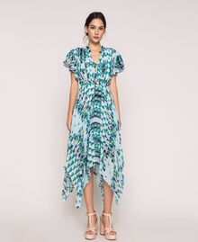 """Printed georgette dress with pleats and frills """"Windy"""" Blue Geometric Print Woman 201ST2185-01"""