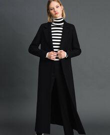 Langer Mantel aus Tuch Schwarz Frau 192TP2313-02