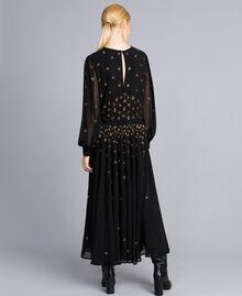 Robe longue en crêpe georgette avec broderie Noir Femme TA826A-03