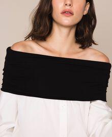 Soft collar poplin shirt Two-tone Lily / Black Woman 201MP218F-04