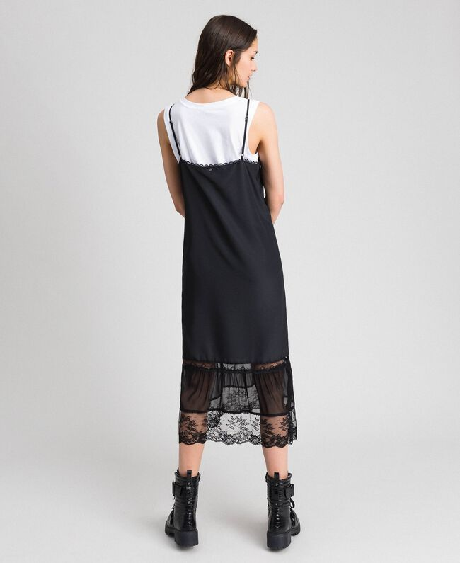 Long slip dress with lace and top Black Woman 192TP2572-03