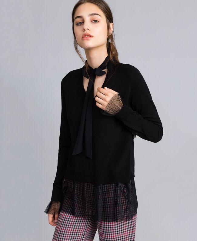 Jersey de lana mixta con tul plisado Negro Mujer SA83AA-01