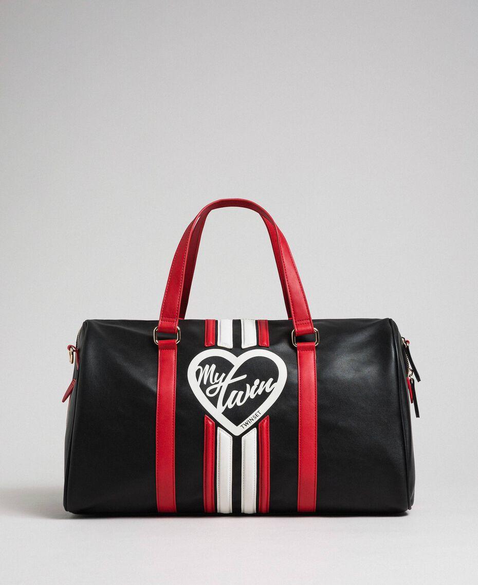 Sac week-end en similicuir avec bandes et logo Noir / Rouge «Coquelicot» Femme 192MO8055-01