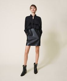 Poplin and faux leather mini dress Black Woman 202ST2052-01