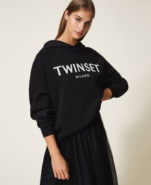 Hoodie with logo embroidery Black Woman 202TT2480-01