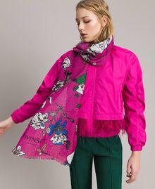 Шарф из вискозы и люрекса с цветочным принтом Анемоново-Розовый Принт женщина 191TA4368-0S
