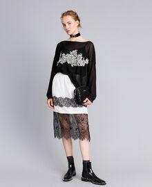 Pull en lurex avec incrustation florale Noir Lurex Femme PA836Q-0T