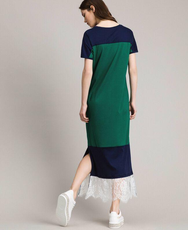 Robe longue color block avec dentelle Vert Evergreen Femme 191TP2271-03