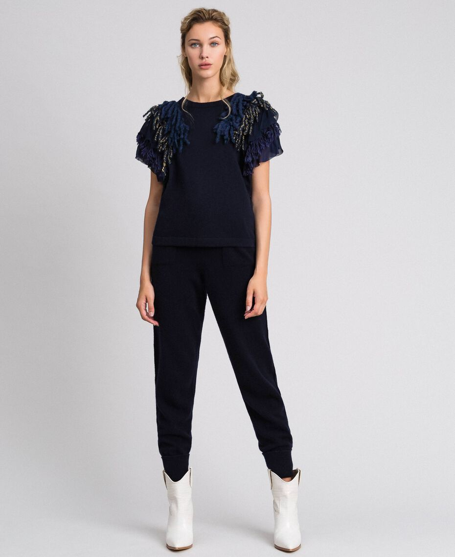 Cashmere blend jumper with fringes Midnight Blue Woman 192TT3300-02