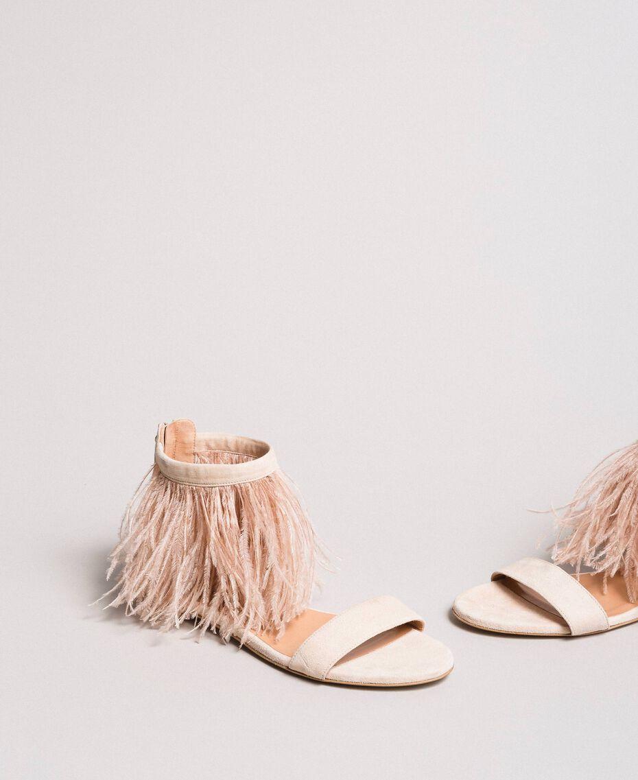 Sandales plates à plumes Rose Bouton Femme 191TCP212-01