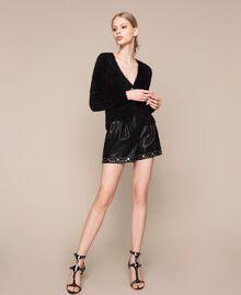 Maglia-cardigan in filato effetto pelliccia Nero Donna 201TP3091-05