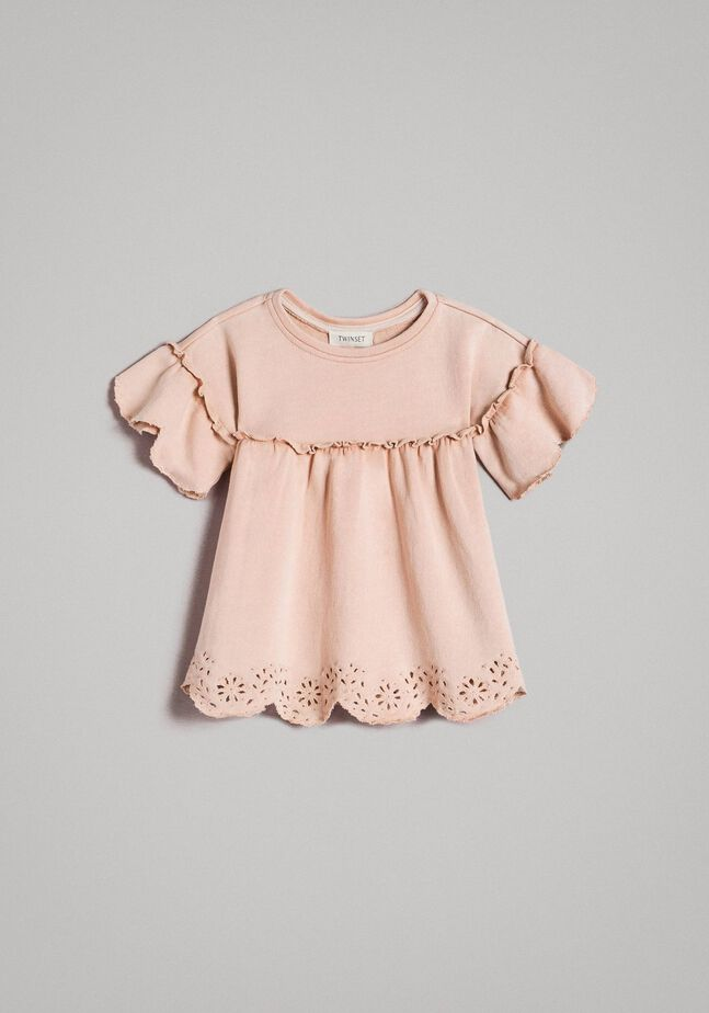 Fleece dress with broderie anglaise