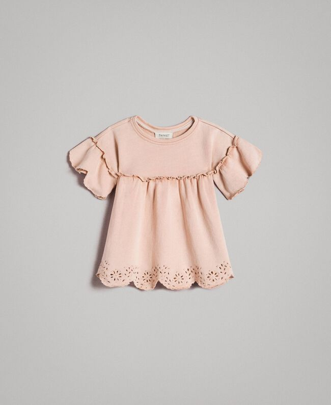 Fleece dress with broderie anglaise Blossom Pink Child 191GB2241-01