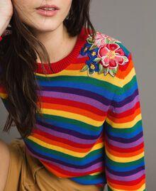Pullover mit mehrfarbigen Streifen und Blumenapplikationen Regenbogenstreifen Frau 191TP3013-05