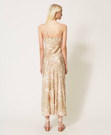 """One-shoulder satin dress with animal print """"Dune"""" Beige Animal Print Woman 202MP243A-04"""