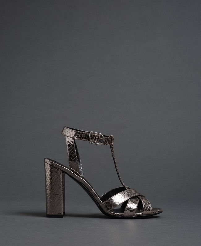 Laminated leather T-bar sandals Laminated Silver Python Woman 192TCP12J-05