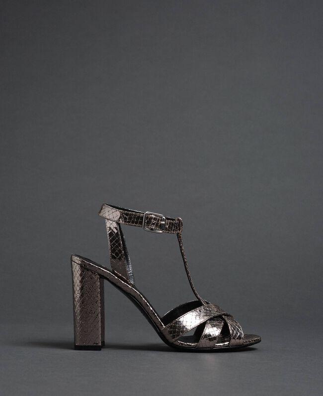 T-Bar-Sandalette aus Metallic-Leder Pythonprint Silber-Metallic Frau 192TCP12J-05
