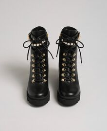 Leather combat boots with heel and pearls Black Woman 192TCP01C-04