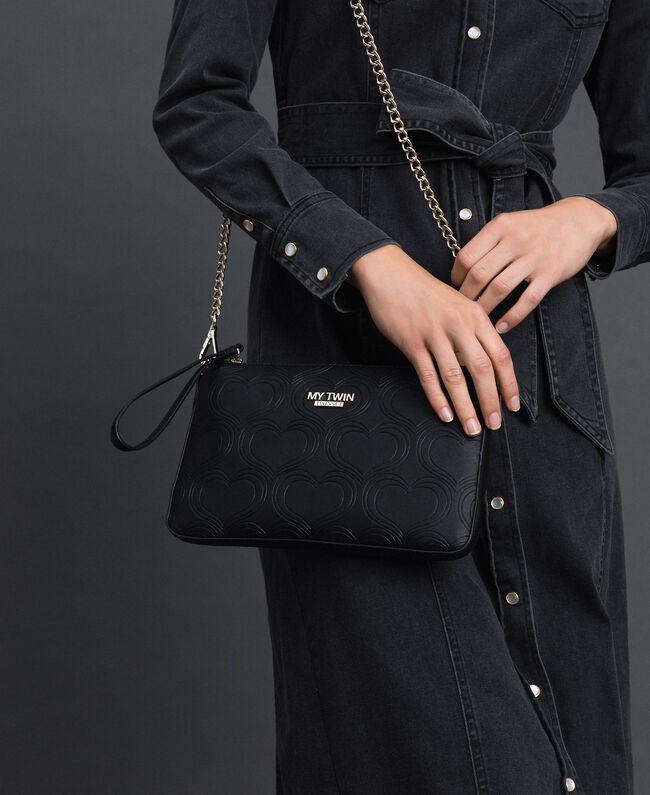 Heart print shoulder bag Black Woman 192MA7014-0S